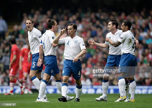 England's Michael Dawson John Terry Scott Parker Frank Lampard and Glen Johnson celebrate the second goal scored by Darren Bent during a Euro 2012...