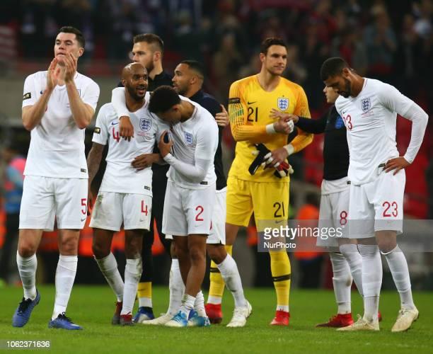 LR England's Michael Keane England's Fabian Delph England's Trent AlexanderAmnold England's Alex McCarthy and England's Ruben LoftusCheek After the...