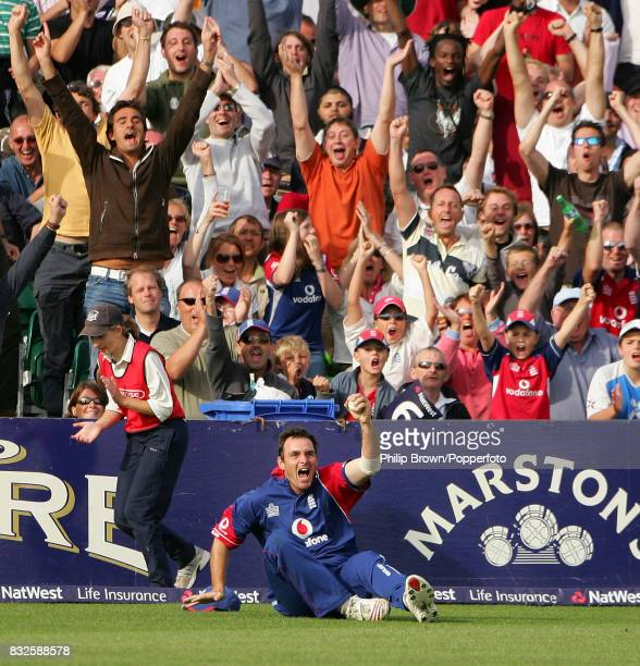 England's Michael Yardy celebrates his catch on the boundary to dismiss Pakistan's Shahid Afridi during the NatWest International Twenty20 match...