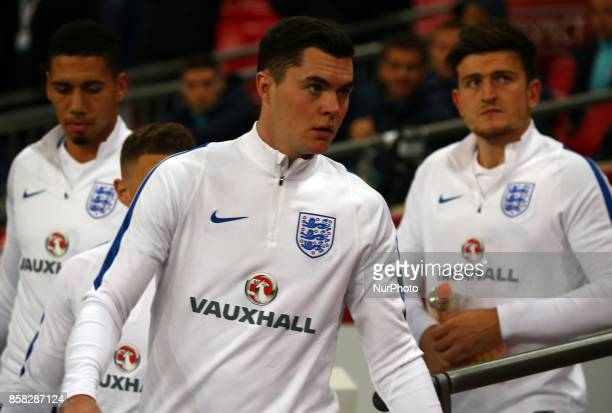 England's Micheal Keane during FIFA World Cup Qualifying European Region Group F match between England and Slovenia at Wembley stadium London 05 Oct...