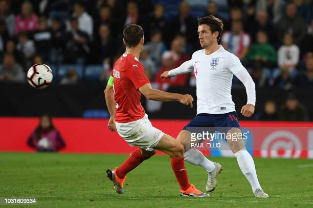 England's midfielder Ben Chilwell in action during a friendly international football match between England and Switzerland at the King Power stadium...