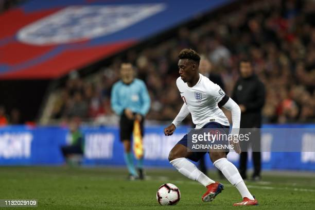 England's midfielder Callum HudsonOdoi runs with the ball during the UEFA Euro 2020 Group A qualification football match between England and Czech...