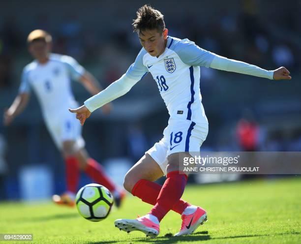 England's midfielder David Brooks scores to the goal during the Under 21 international football final match England vs Ivory Coast at the De Lattre...