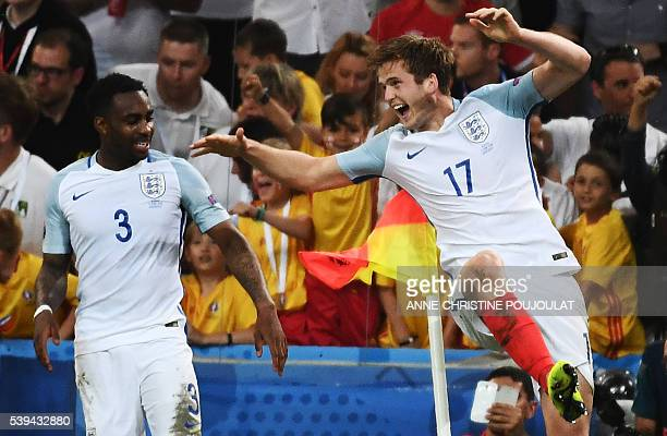England's midfielder Eric Dier celebrates his goal with England's defender Danny Rose during the Euro 2016 group B football match between England and...