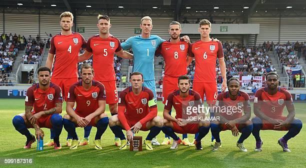 England's midfielder Eric Dier England's defender Gary Cahill England's goalkeeper Joe Hart England's midfielder Jordan Henderson and England's...