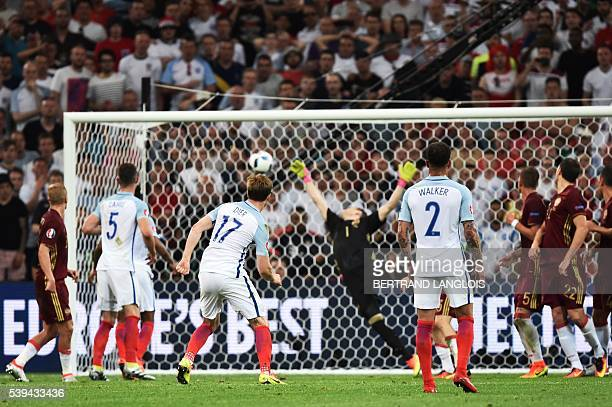 England's midfielder Eric Dier shoots to score during the Euro 2016 group B football match between England and Russia at the Stade Velodrome in...