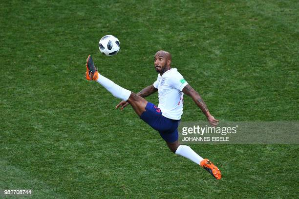 TOPSHOT England's midfielder Fabian Delph controls the ball during the Russia 2018 World Cup Group G football match between England and Panama at the...