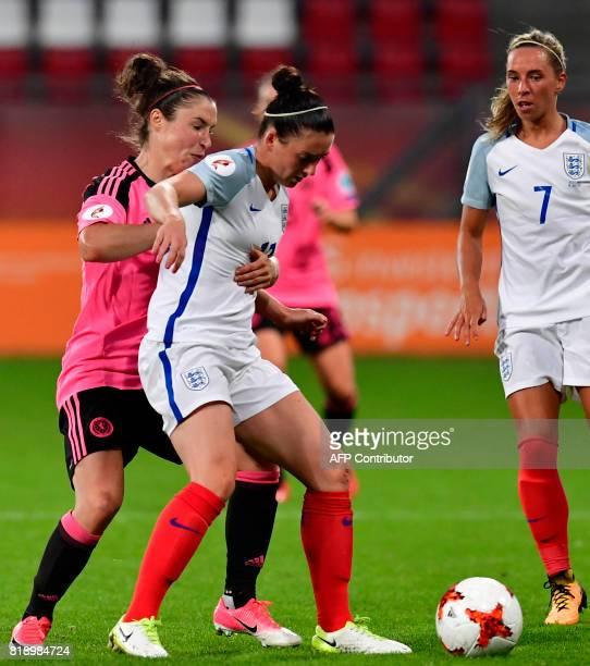 England's midfielder Jade Moore holds off Scotland's forward Jane Ross during the UEFA Women's Euro 2017 football tournament match between England...