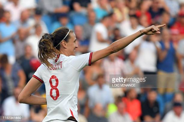 TOPSHOT England's midfielder Jill Scott celebrates after scoring a goal during the France 2019 Women's World Cup quarterfinal football match between...