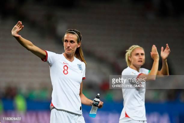 England's midfielder Jill Scott celebrates after winning the France 2019 Women's World Cup Group D football match between Japan and England on June...