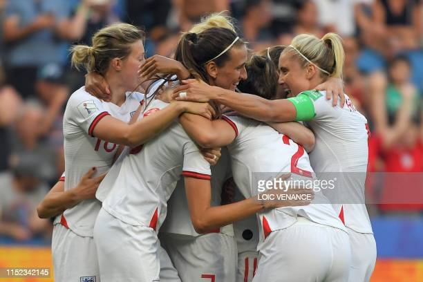 TOPSHOT England's midfielder Jill Scott celebrates with teammates after scoring a goal during the France 2019 Women's World Cup quarterfinal football...