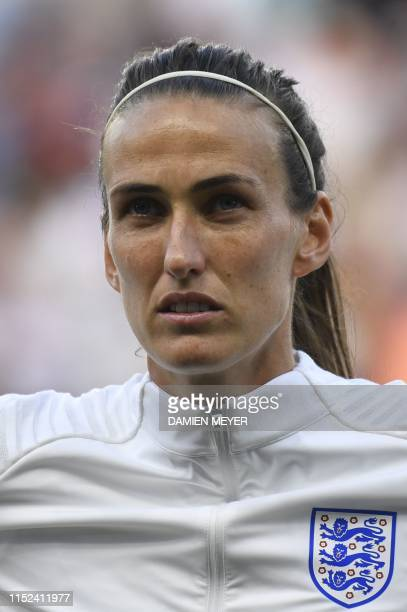 England's midfielder Jill Scott poses ahead of the France 2019 Women's World Cup quarterfinal football match between Norway and England on June 27 at...