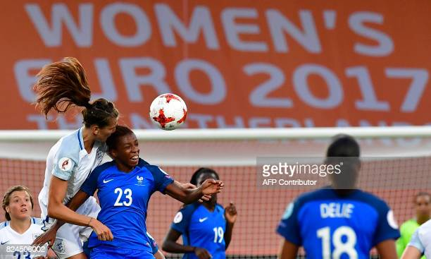 England's midfielder Jill Scott vies with France's midfielder Grace Geyoro during the UEFA Women's Euro 2017 quarterfinal football match between...