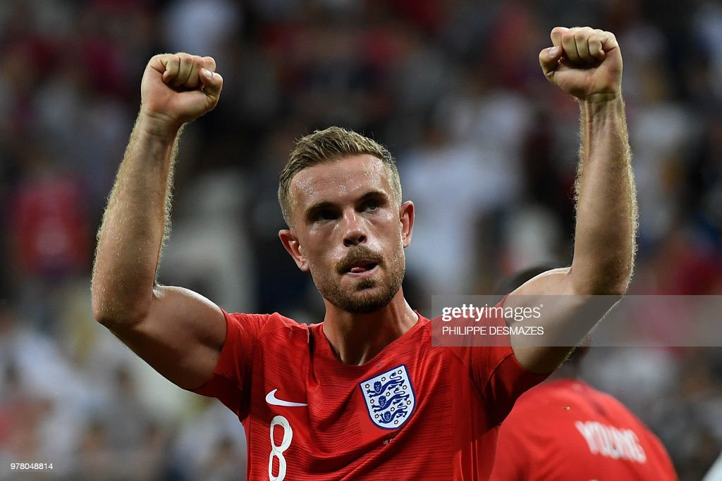 TOPSHOT - England's midfielder Jordan Henderson celebrates at the end of the Russia 2018 World Cup Group G football match between Tunisia and England at the Volgograd Arena in Volgograd on June 18, 2018. (Photo by PHILIPPE DESMAZES / AFP) / RESTRICTED