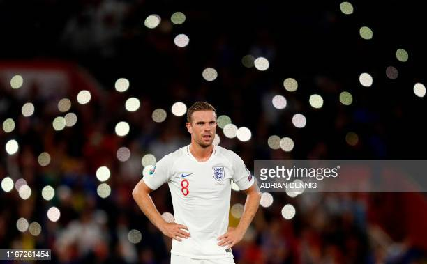England's midfielder Jordan Henderson reacts during the UEFA Euro 2020 qualifying Group A football match between England and Kosovo at St Mary's...