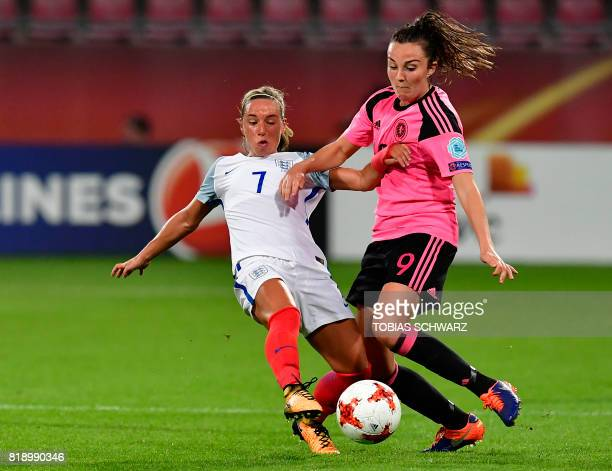 England's midfielder Jordan Nobbs tackles Scotland's midfielder Caroline Weir during the UEFA Women's Euro 2017 football tournament match between...