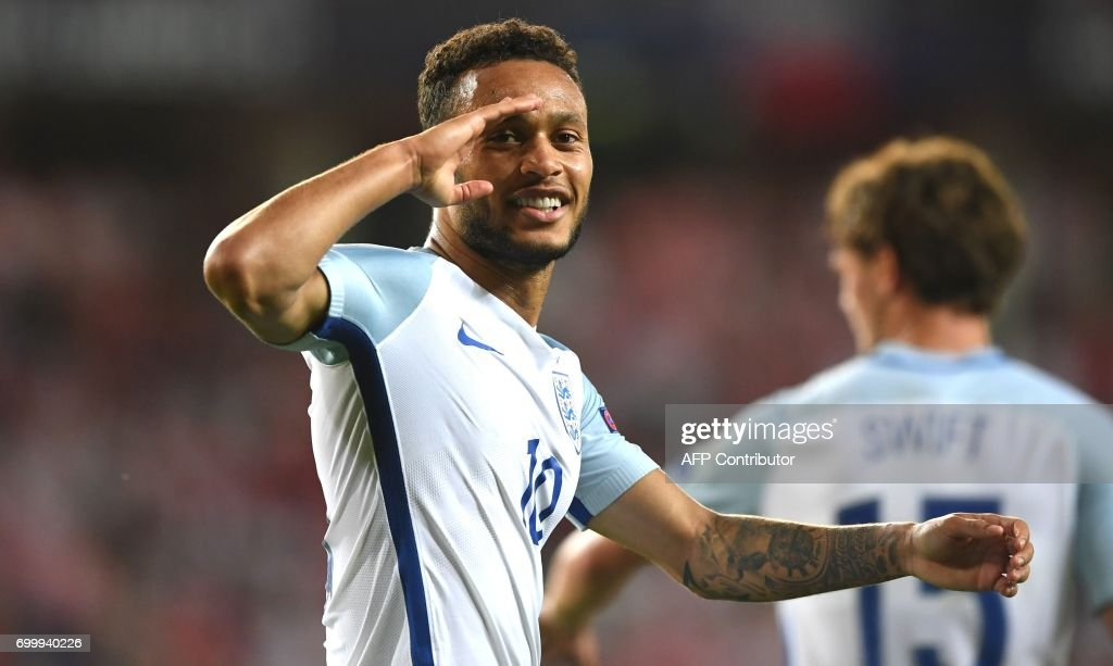 England's midfielder Lewis Baker celebtates scoring a penalty during the UEFA U-21 European Championship Group A football match England v Poland in Kielce, Poland on June 22, 2017. /