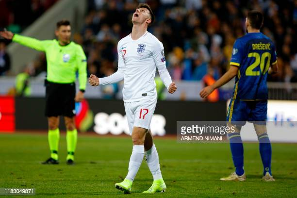 England's midfielder Mason Mount celebrates after scoring during the UEFA Euro 2020 qualifying Group A football match between Kosovo and England at...