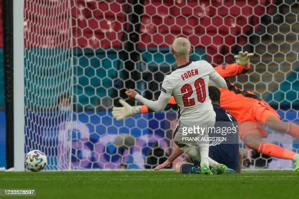 England's midfielder Phil Foden kicks the ball and misses an opportunity during the UEFA EURO 2020 Group D football match between England and...