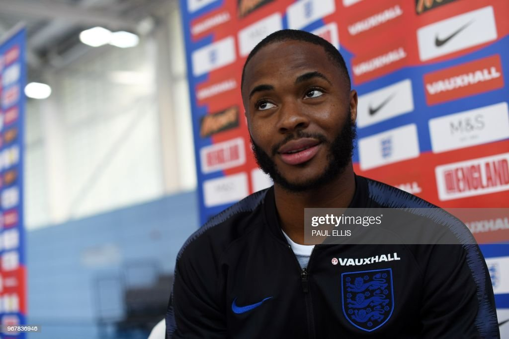 England's midfielder Raheem Sterling attends a open media day at St George's Park in Burton-on-Trent on June 5, 2018, ahead of their international friendly football matches against Costa Rica. (Photo by Paul ELLIS / AFP) / NOT