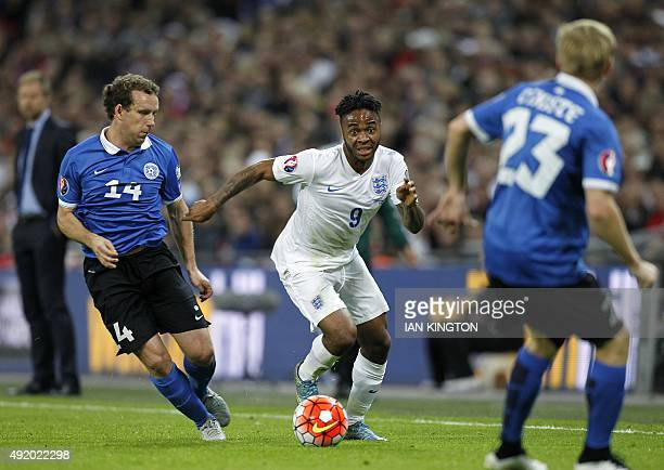 England's midfielder Raheem Sterling in action during the Euro 2016 qualifying group E football match between England and Estonia at Wembley Stadium...