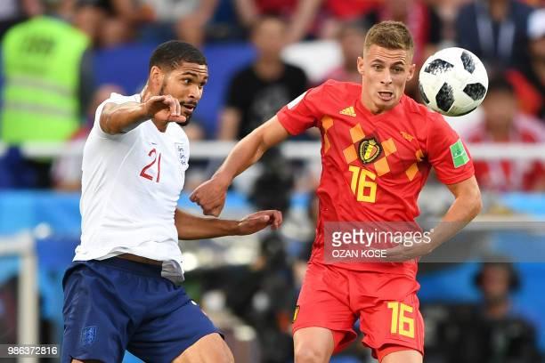 England's midfielder Ruben Loftus-Cheek vies with Belgium's forward Thorgan Hazard during the Russia 2018 World Cup Group G football match between...