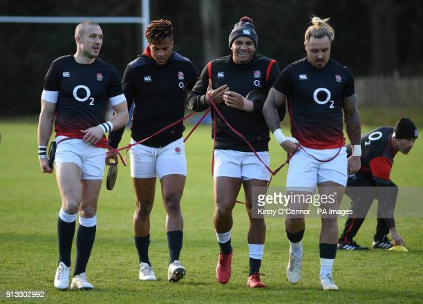England's Mike Brown Anthony Watson Jonathan Joseph and Jack Nowell during the training session at Pennyhill Park Bagshot