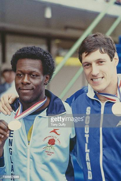 England's Mike McFarlane and Scotland's Allan Wells share the gold medal for the 200 Metres at the Commonwealth Games in Brisbane Australia 1982