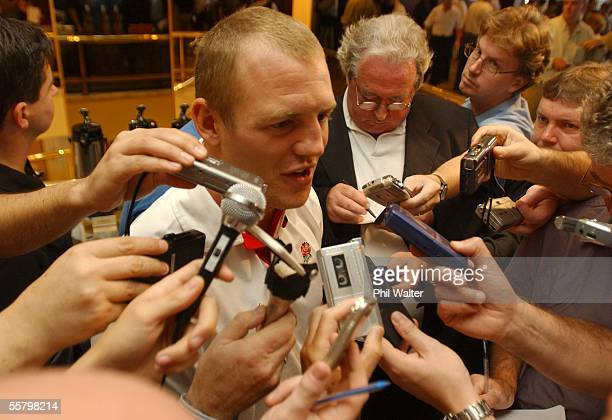 England's Mike Tindall is besieged by the press after being named in the squad to play Australia in the Rugby World Cup Final at the Telstra Stadium...