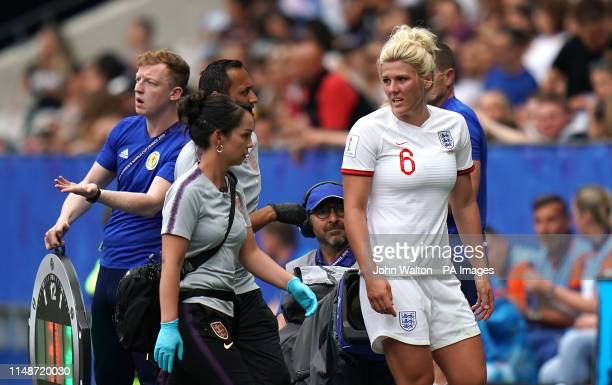 England's Millie Bright receives medical treatment after picking up an injury during the FIFA Women's World Cup Group D match at the Stade de Nice