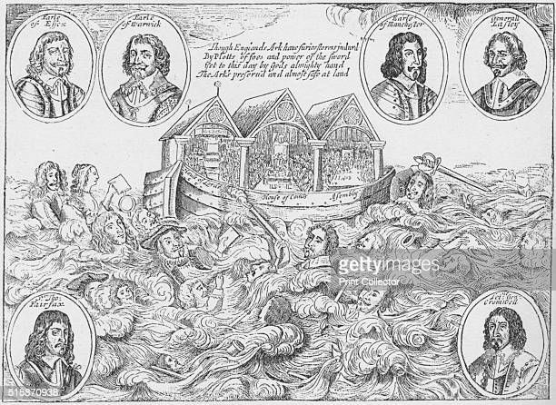England's Miraculous Preservation Emblematically Described Erected for a Perpetual Monument to Posterity'1646 An allegory showing the Ark of England...