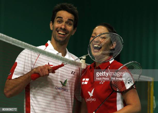 England's Mixed Double's pair Nathan Robertson and Jenny Wallwork share a joke during the photocall at the National Badminton Centre Milton Keynes