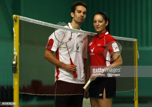 England's Mixed Double's pair Nathan Robertson and Jenny Wallwork during the photocall at the National Badminton Centre Milton Keynes