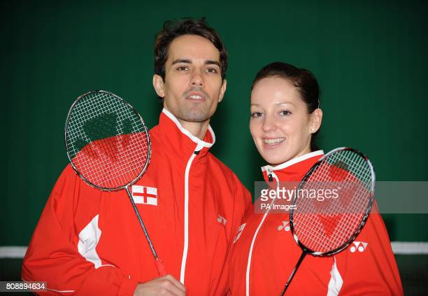England's Mixed Doubles partnership Nathan Robertson and Jenny Wallwork during a photocall at the National Badminton Centre Milton Keynes