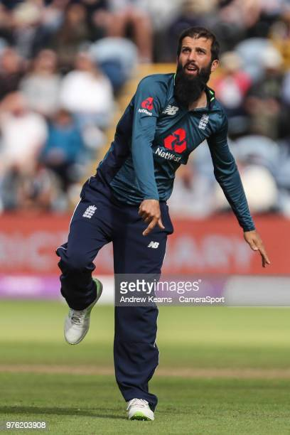 England's Moeen Ali during the Royal London OneDay Series 2nd ODI between England and Australia at Sophia Gardens on June 16 2018 in Cardiff Wales