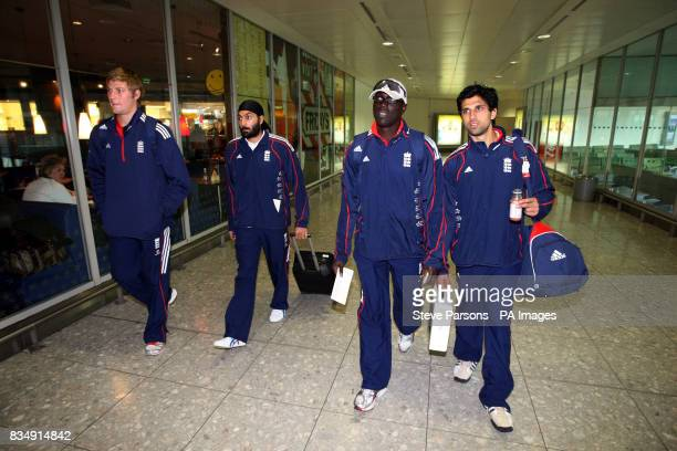 England's Monty Panesar along with England Performance Squad members Ollie Raynor Amjad Khan and England bowling coach Otis Gibson arrive in Terminal...