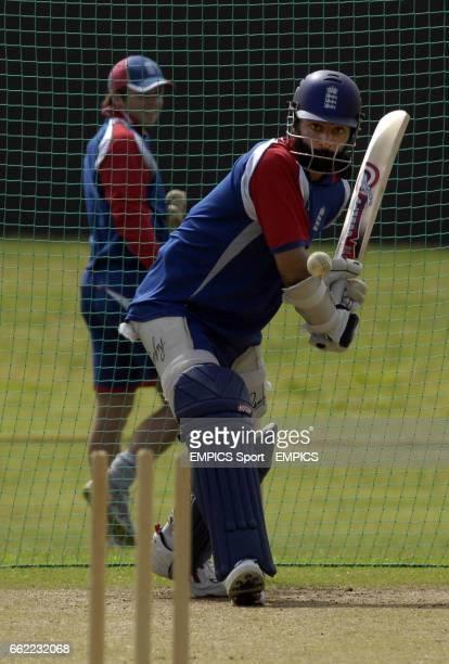 England's Monty Panesar batting during net practice