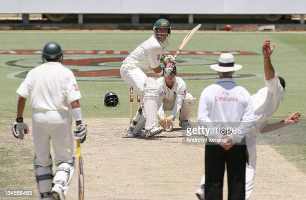 England's Monty Panesar bowls spin to Australia's Matthew Hayden during day three of the third Ashes test between Australia and England at the WACA...