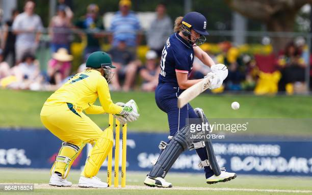 England's Nat Sciver during the Women's One Day International between Australia and England at Allan Border Field on October 22 2017 in Brisbane...
