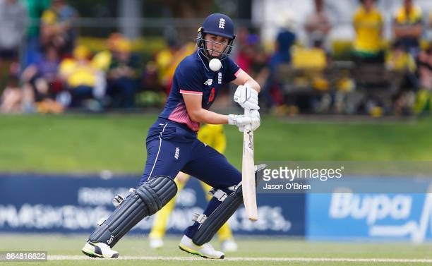 England's Nat Sciver plays a shot during the Women's One Day International between Australia and England at Allan Border Field on October 22 2017 in...