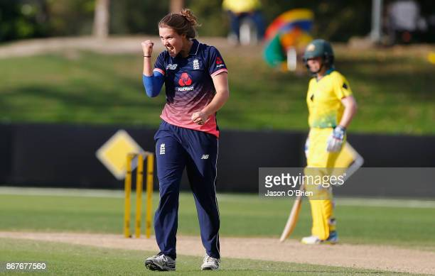 England's Natalie Sciver celebrates the wicket of Ashleigh Gardner during the Women's International One Day match between Australia and England on...