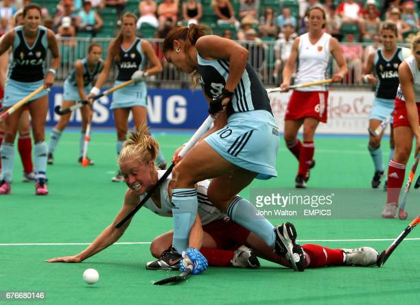 England's Natalie Seymour is held back by Argentina's Agustina Soledad Garcia