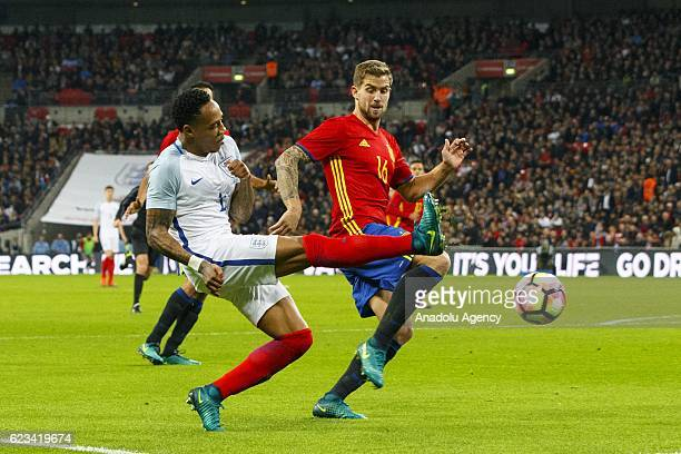 England's Nathaniel Clyne in action against Spain's Inigo Martinez during an international friendly match between England and Spain at Wembley...