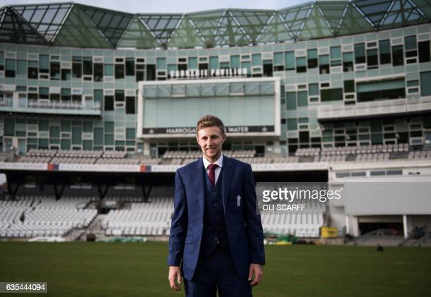 England's newlyannounced cricket Test captain Joe Root poses for photographers ahead of a news conference at Headingly stadium in Leeds northeast...