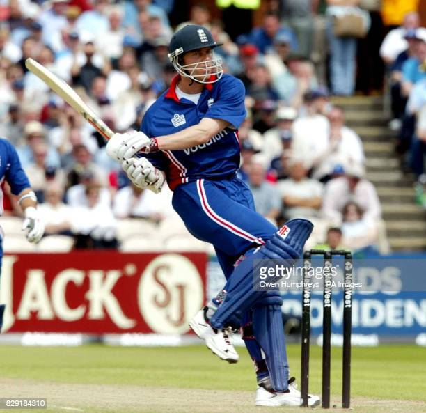England's Nick Knight hits a boundary during The NatWest Series One Day match against Sri Lanka at Old Trafford Manchester 27/04/03 England's Nick...