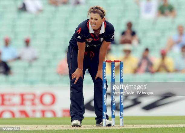England's Nicky Shaw looks on during the ICC Women's World Twenty20 Semi Final at The Oval London