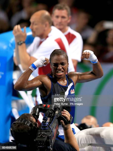 England's Nicola Adams celebrates victory in the Women's Fly Final Bout at the SSE Hydro during the 2014 Commonwealth Games in Glasgow