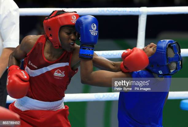 England's Nicola Adams in action against Sri Lanka's Erandi de Silva in the Women's Fly Quarterfinal 4 at the SECC during the 2014 Commonwealth Games...