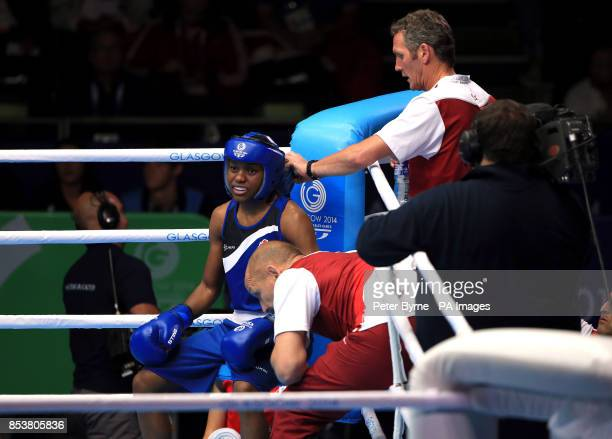 England's Nicola Adams in her corner during her match against Canada's Mandy Bujold in the Women's Boxing Fly Semifinal 2 at the SECC during the 2014...