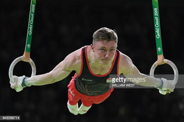 England's Nile Wilson competes in the men's rings final artistic gymnastics event during the 2018 Gold Coast Commonwealth Games at the Coomera Indoor...